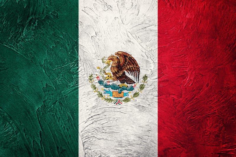 Grunge Meksyk flaga Meksykańska flaga z grunge teksturą ilustracja wektor
