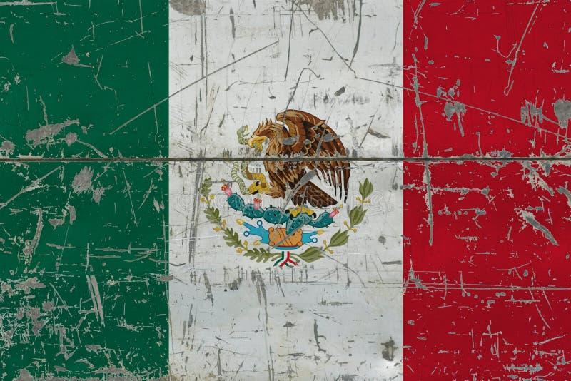 Grunge Meksyk flaga na starej porysowanej drewnianej powierzchni Krajowy rocznika tło fotografia stock