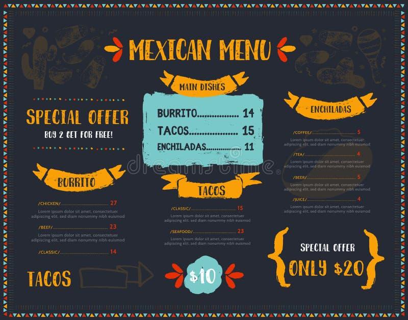 Grunge Meksykański Karmowy Restauracyjny menu, szablonu projekt z nakreślenie ikonami Chili pieprz, sombrero, tacos, nacho, burri ilustracji