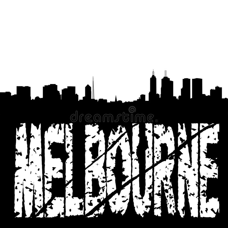 Download Grunge Melbourne With Skyline Stock Vector - Illustration: 8267137