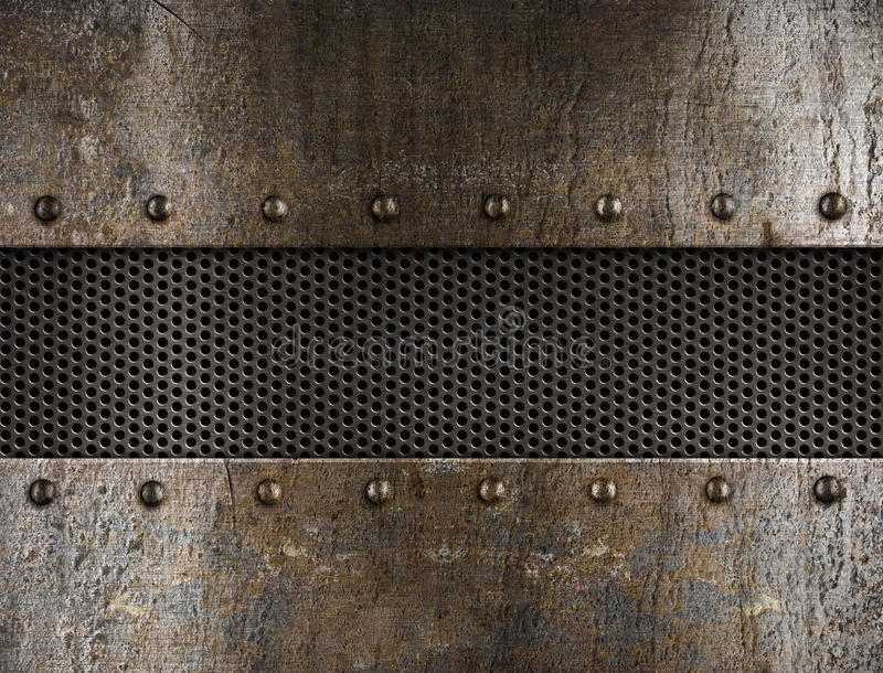 Grunge metal background. Grunge old rusty metal background with rivets royalty free stock image