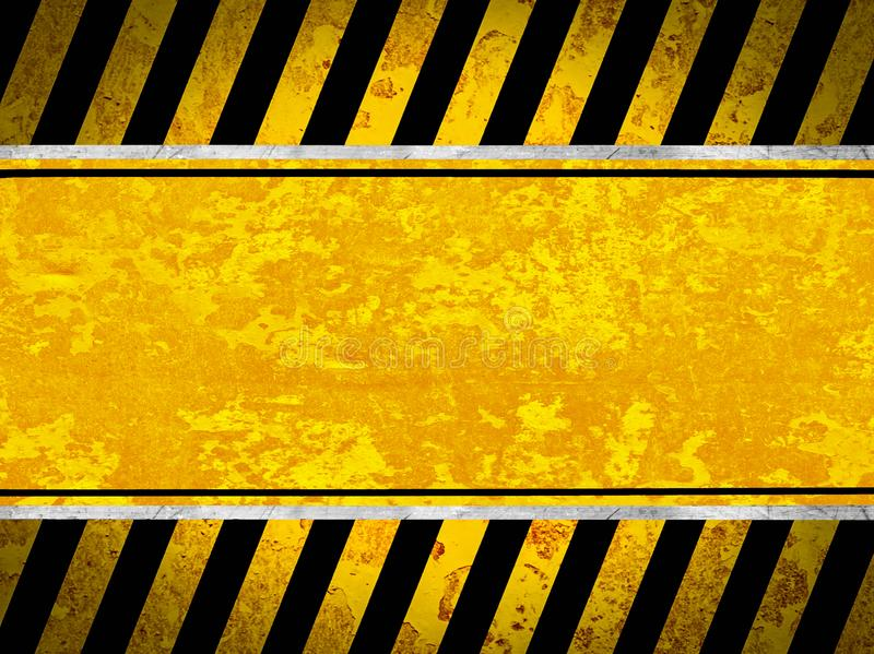 Grunge metal background with black and yellow stripes royalty free stock photography