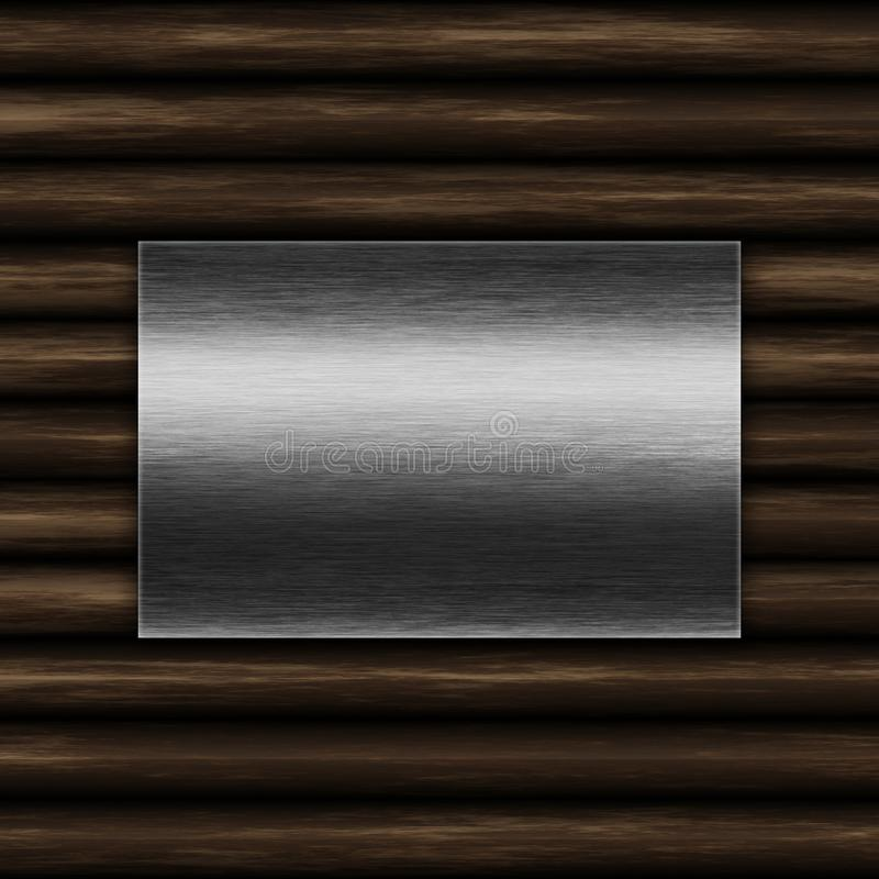 Grunge metal plate on an old wood background. Grunge metal plate on an old wood texture background stock illustration