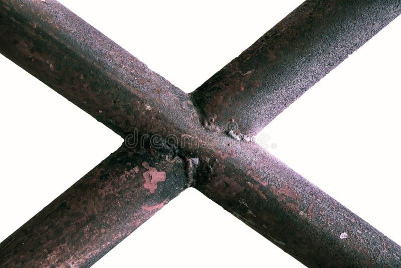 Grunge metal tube. Isolated on white background stock photo