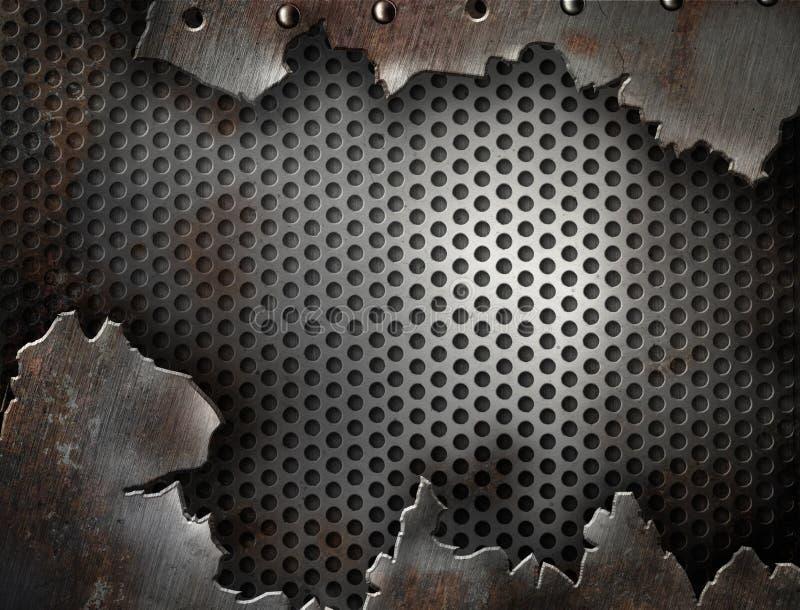 Grunge Metall geknackt mit Nietschablone lizenzfreies stockbild