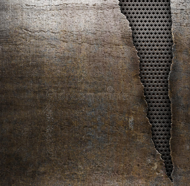 Grunge metallbakgrund med det rev sönder hålet arkivfoto