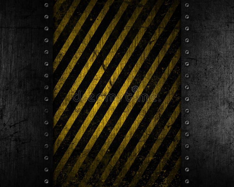 Grunge metalu tło z żółtą i czarną zakłopotaną teksturą royalty ilustracja