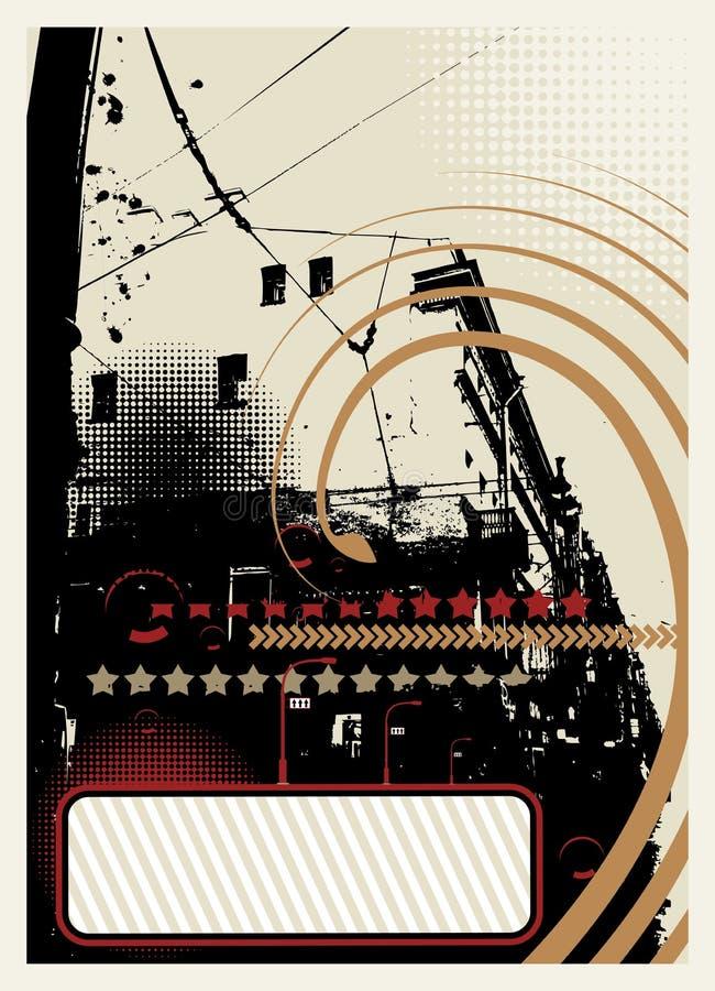 Grunge miasta abstrakcjonistyczny tło z halftone elementami ilustracja wektor
