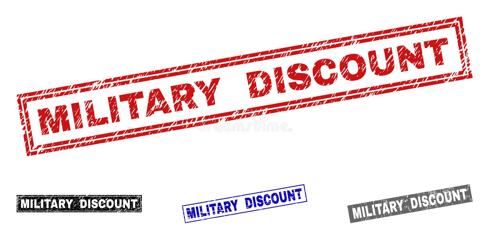 Grunge MILITARY DISCOUNT Textured Rectangle Watermarks vector illustration