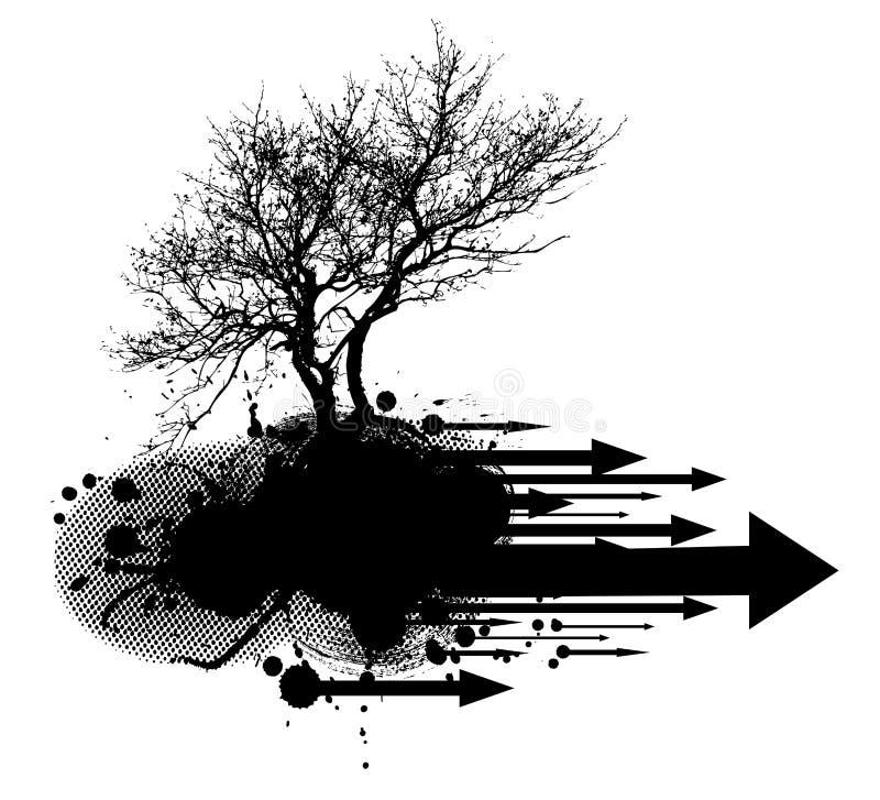 Grunge modern tree design element royalty free illustration