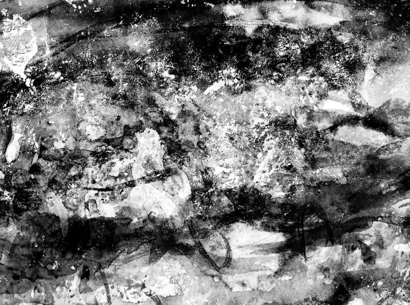 Grunge конспекта руки предпосылка вычерченного праздничная Черно-белая текстура с брызгает краски акриловых или масла бесплатная иллюстрация