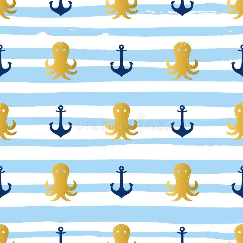 Grunge morski bezszwowy wzór ilustracja wektor