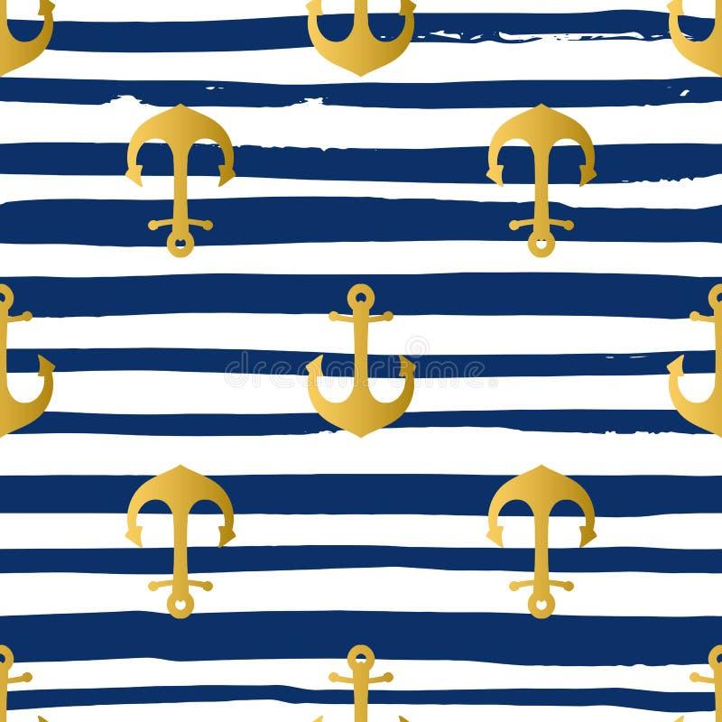 Grunge morski bezszwowy wzór royalty ilustracja