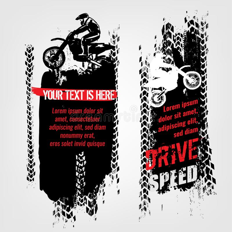 Grunge motorcross sztandary royalty ilustracja