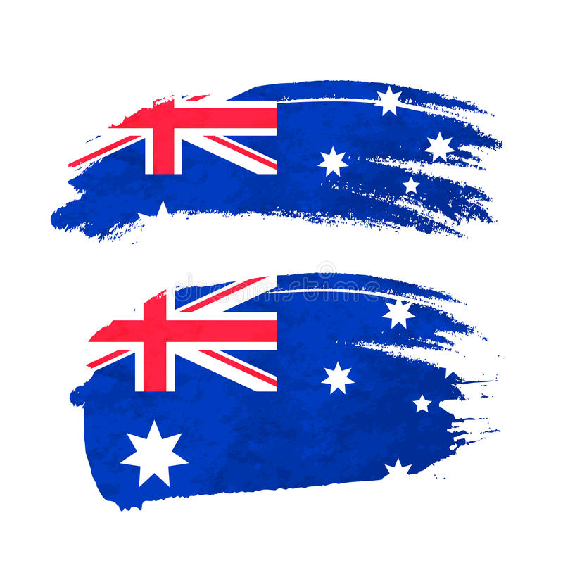 Grunge muśnięcia uderzenie z Australijską flaga państowowa na bielu royalty ilustracja