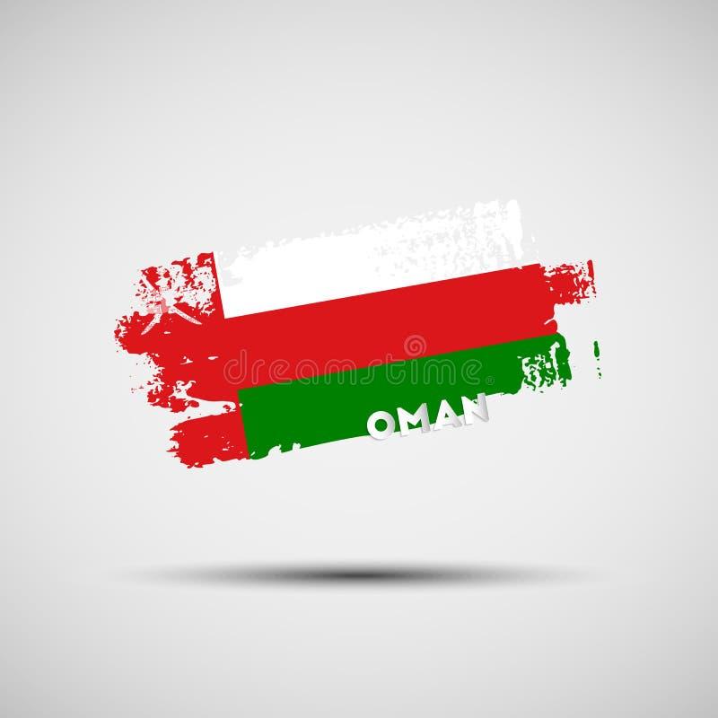 Grunge muśnięcia uderzenie z Omani flaga państowowa kolorami ilustracji