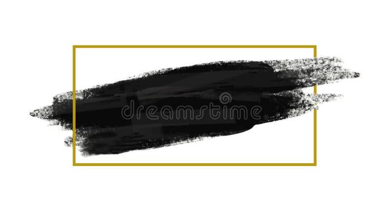 Grunge muśnięcie podsyca tekstury tło z złoto linii ramą ilustracji