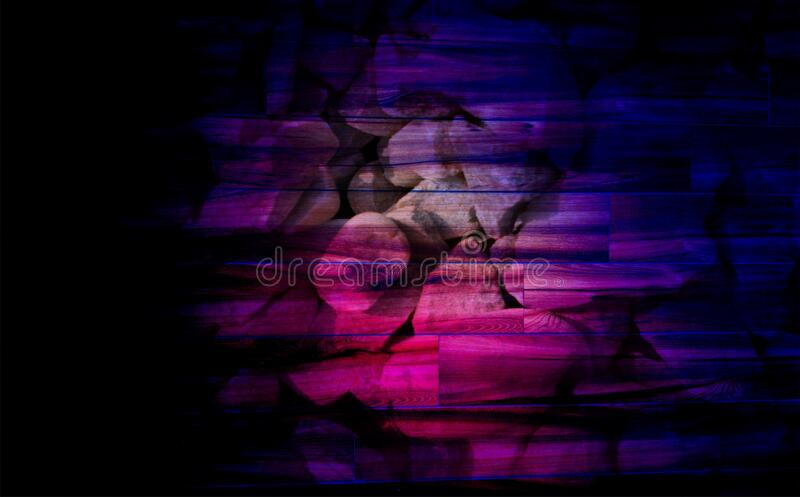 Grunge multicolored lighting effect on wood texture of concrete floor background for creation abstract. stock illustration
