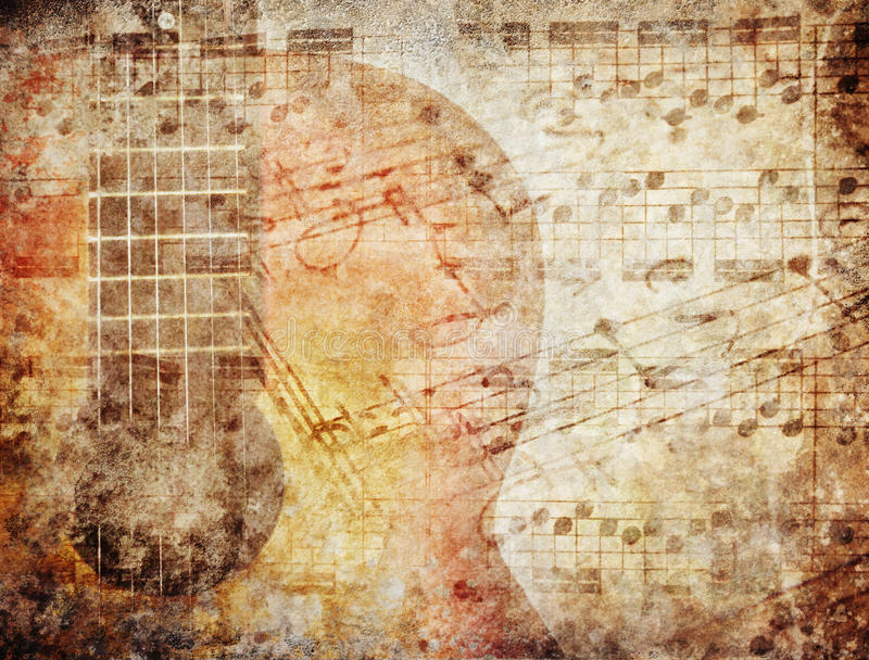 Grunge Music. Grunge background with music sheets and guitar