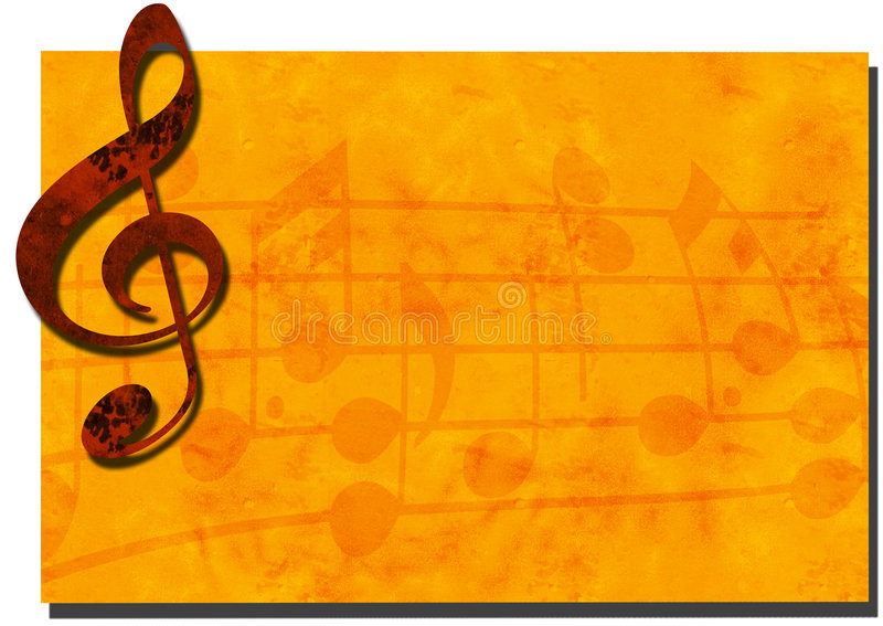 Grunge Music Backdrop Banner. 3D Grunge Music Backdrop with Treble Clef royalty free stock image