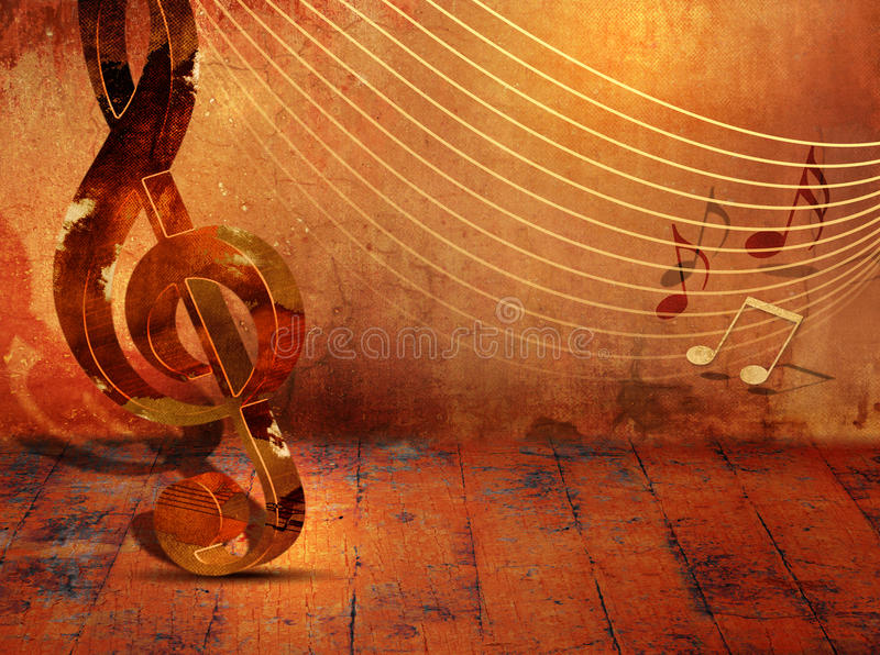 Grunge music background with music notes on stave stock illustration