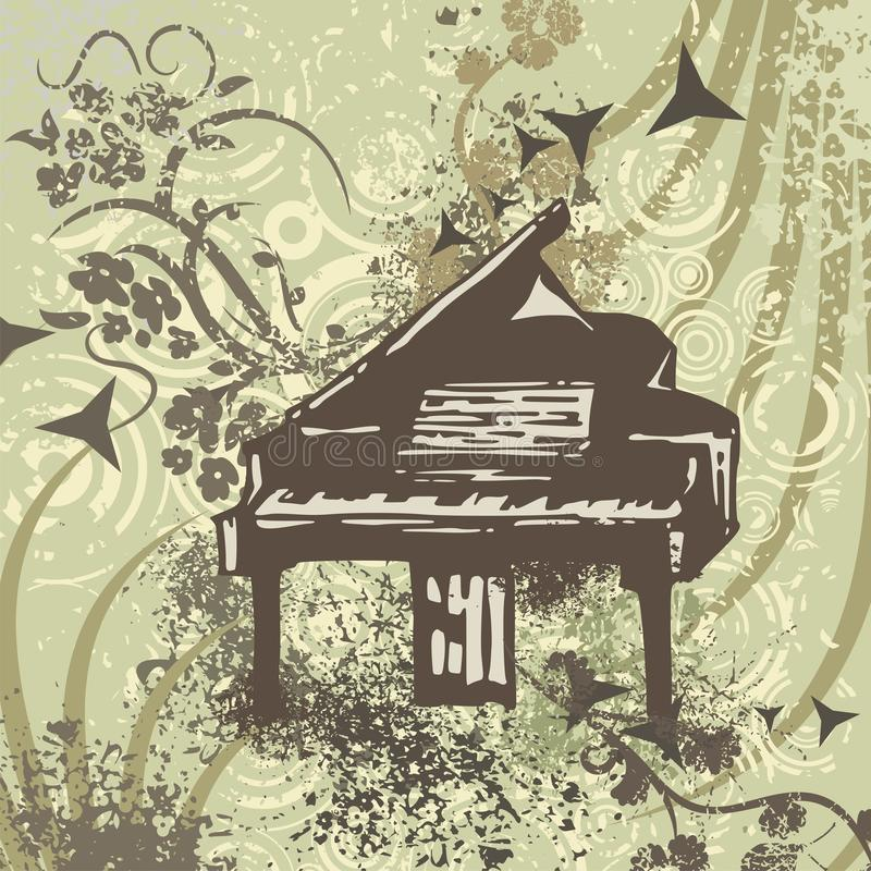 Grunge Music Instrument Background. With a piano vector illustration