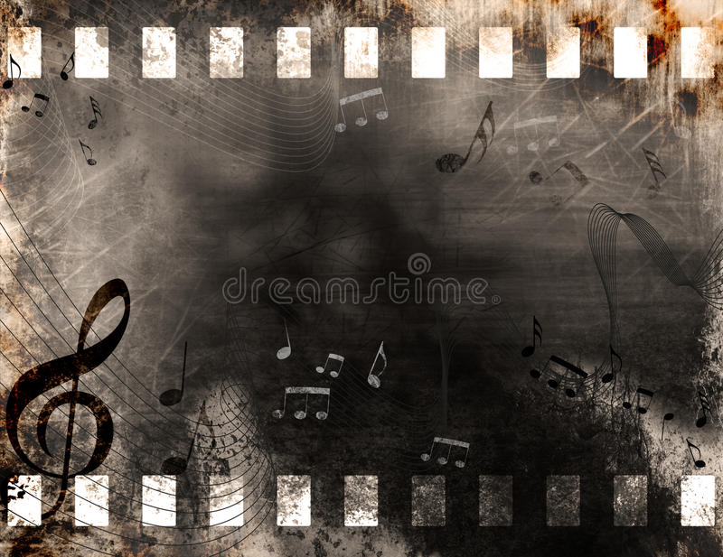 Grunge music notes stock images