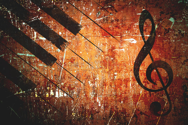 Grunge music pattern background. Vintage retro styled stock photo