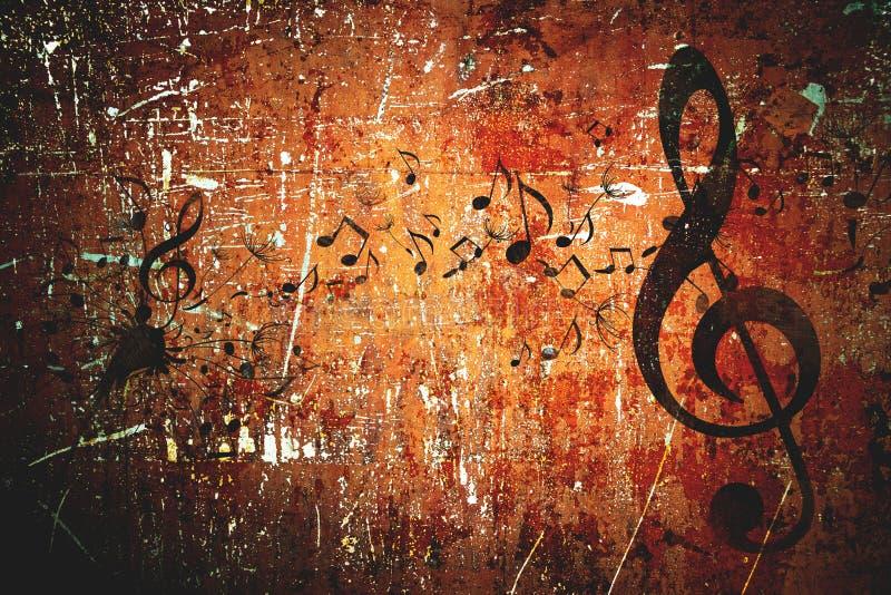 Grunge music pattern background royalty free stock image