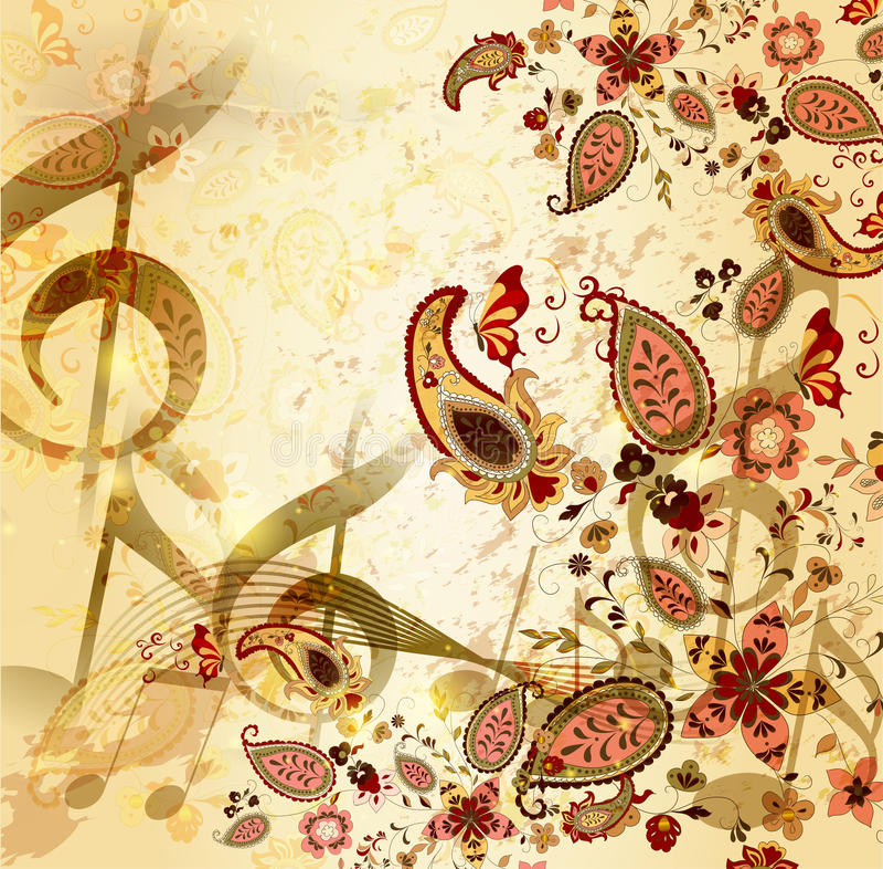 Grunge musical vintage background with floral stock illustration