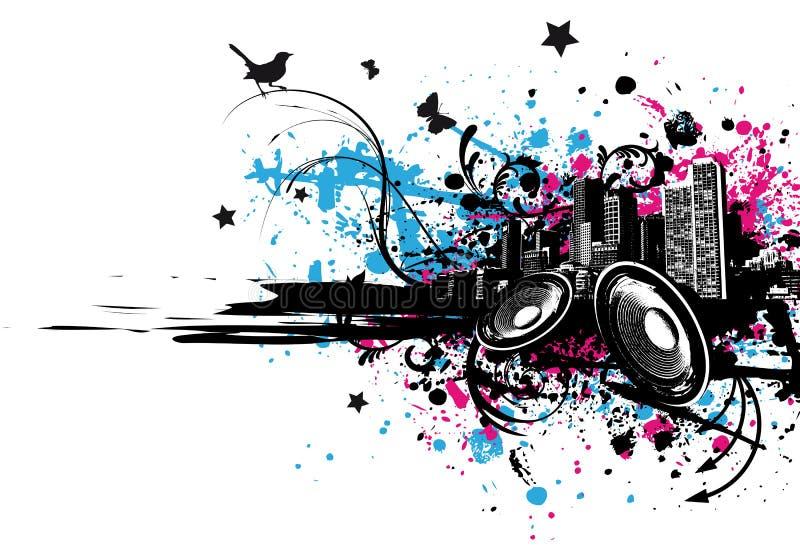 Grunge Musik-Stadt lizenzfreie abbildung