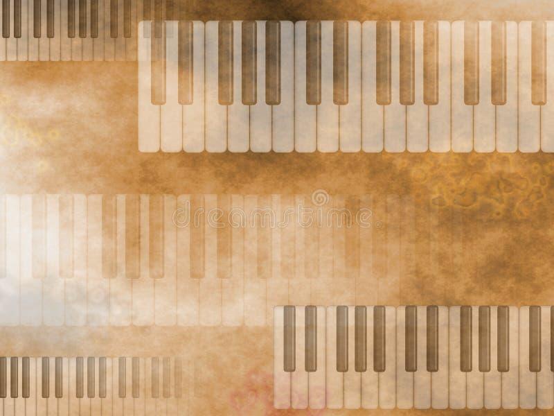 Grunge Musik-Tastatur Hintergrund lizenzfreie abbildung