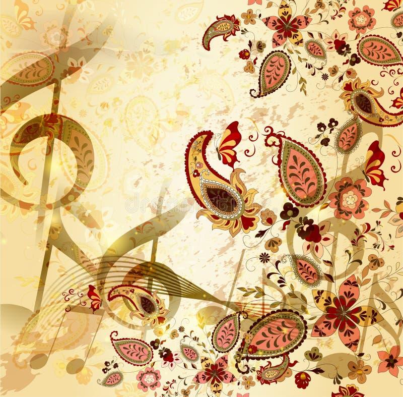Grunge musikalischer Weinlesehintergrund mit Blumen stock abbildung
