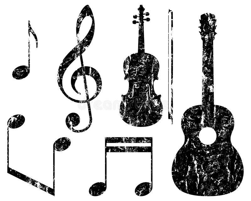 Grunge muzyczni elementy, wektorowa ilustracja ilustracji