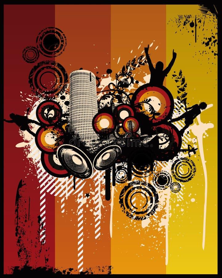 grunge muzyka miasta światła ilustracja wektor