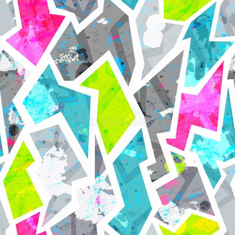 Grunge naadloos patroon met vlekkeneffect vector illustratie