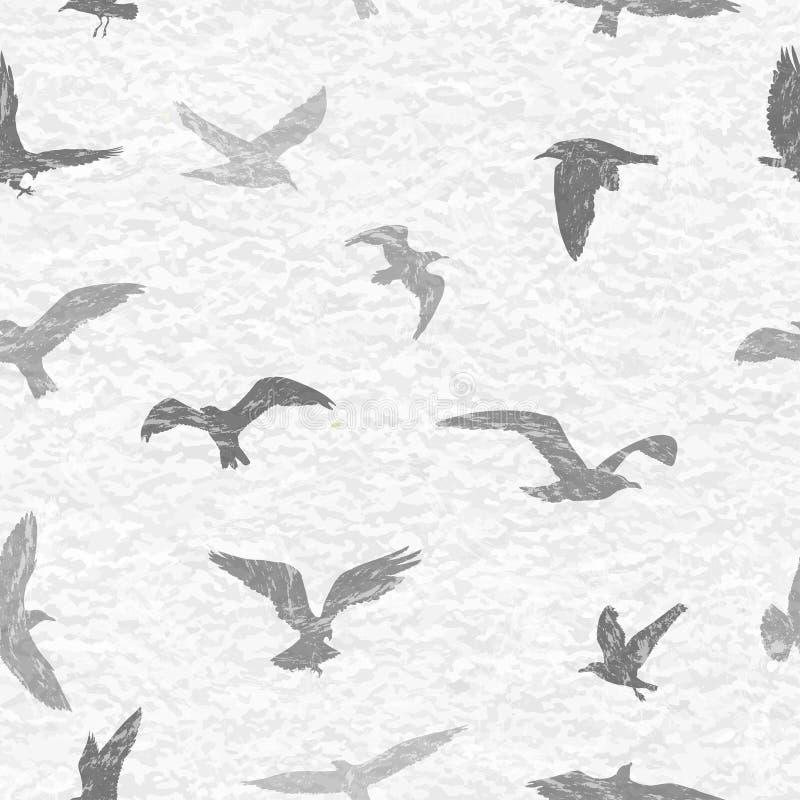 Grunge naadloos patroon van vliegende vogels witte achtergrond royalty-vrije illustratie