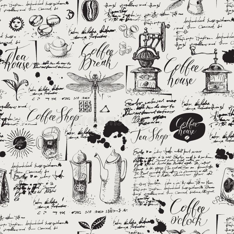 Grunge naadloze achtergrond op koffie en theethema stock illustratie