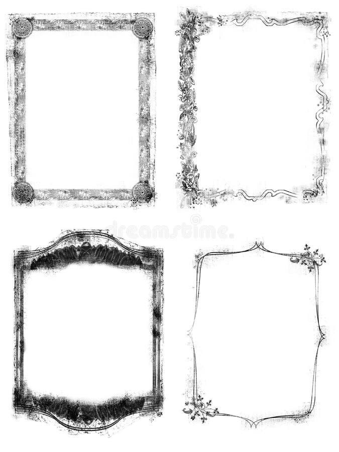 4 Grunge narzut Ramowej granicy ilustracja wektor