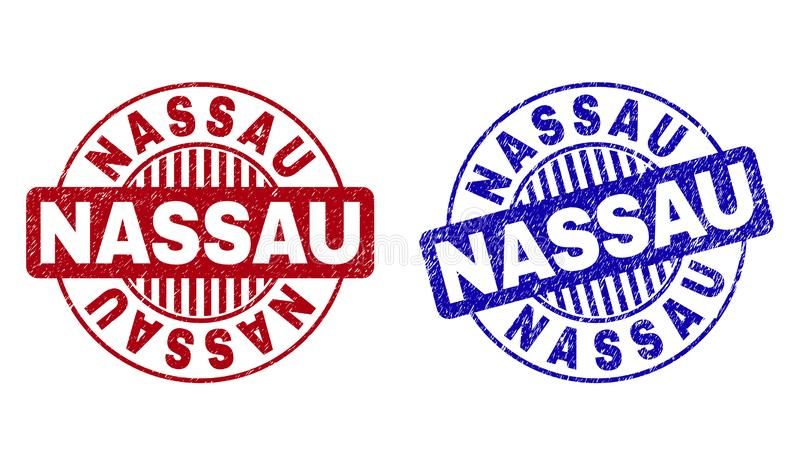 Grunge NASSAU Scratched Round Watermarks. Grunge NASSAU round stamp seals isolated on a white background. Round seals with grunge texture in red and blue colors stock illustration