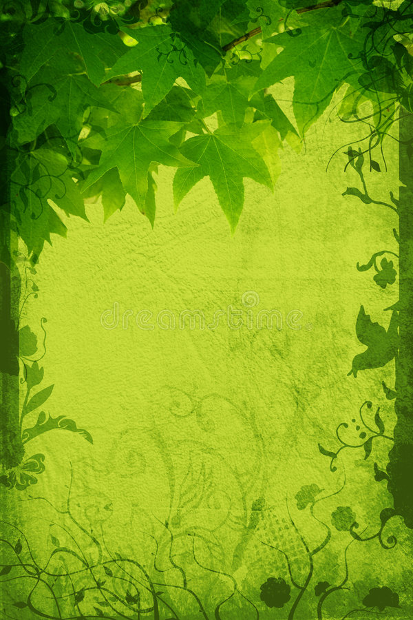 Grunge nature page. Grunge page with paper and leaf texture, floral borders with swirls, scrolls and nature elements