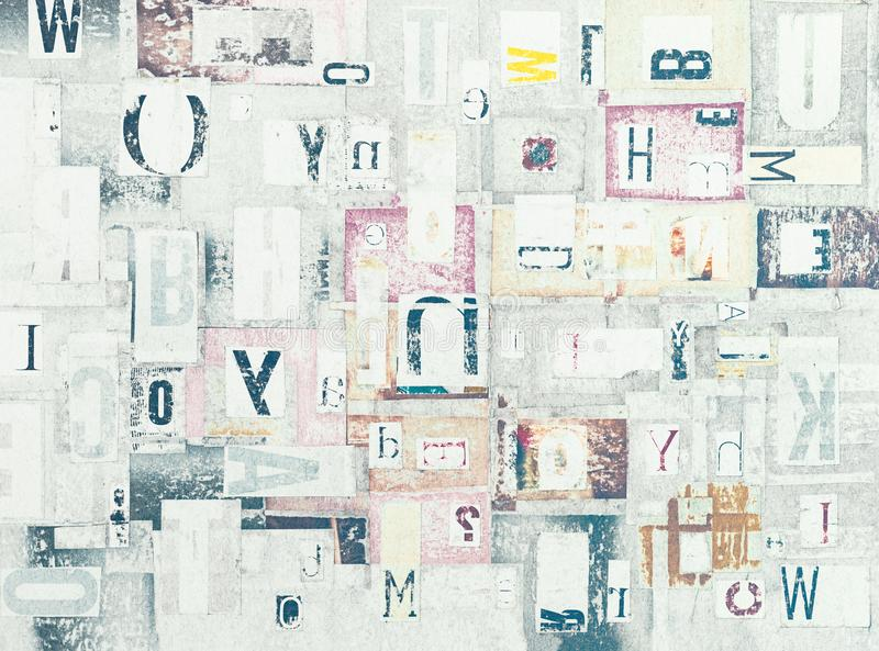 Grunge Newspaper Cutout Letters Background stock image
