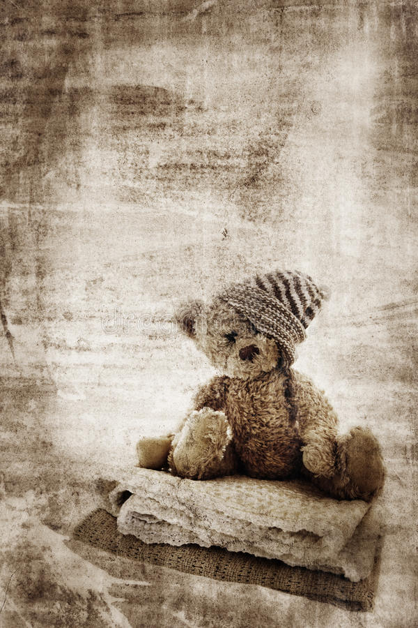grunge niedźwiadkowy miś pluszowy ilustracja wektor