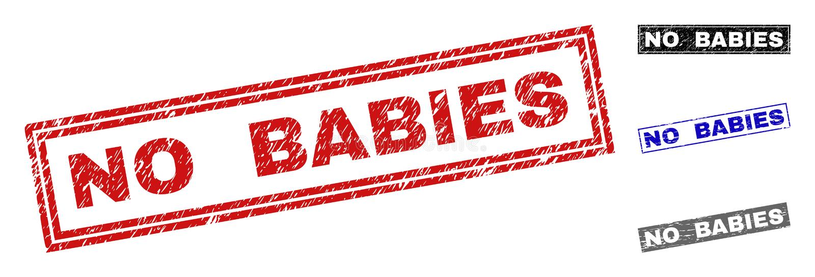 Grunge NO BABIES Textured Rectangle Watermarks. Grunge NO BABIES rectangle stamp seals isolated on a white background. Rectangular seals with grunge texture in stock illustration
