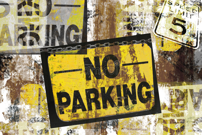 Grunge no parking signs. Photo based grungy montage of no parking and speed limit 5 signs royalty free stock images