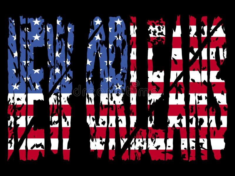 Grunge Nova Orleães com bandeira ilustração royalty free