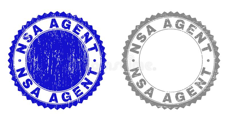 Grunge NSA AGENT Scratched Stamp Seals. Grunge NSA AGENT stamp seals isolated on a white background. Rosette seals with grunge texture in blue and gray colors royalty free illustration