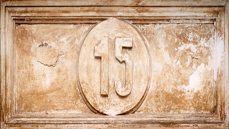 Grunge number 15 stock photo