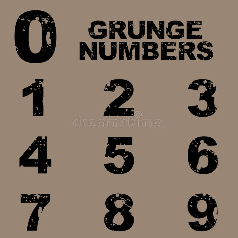 Grunge numbers. Isolated on brown background.EPS file available vector illustration