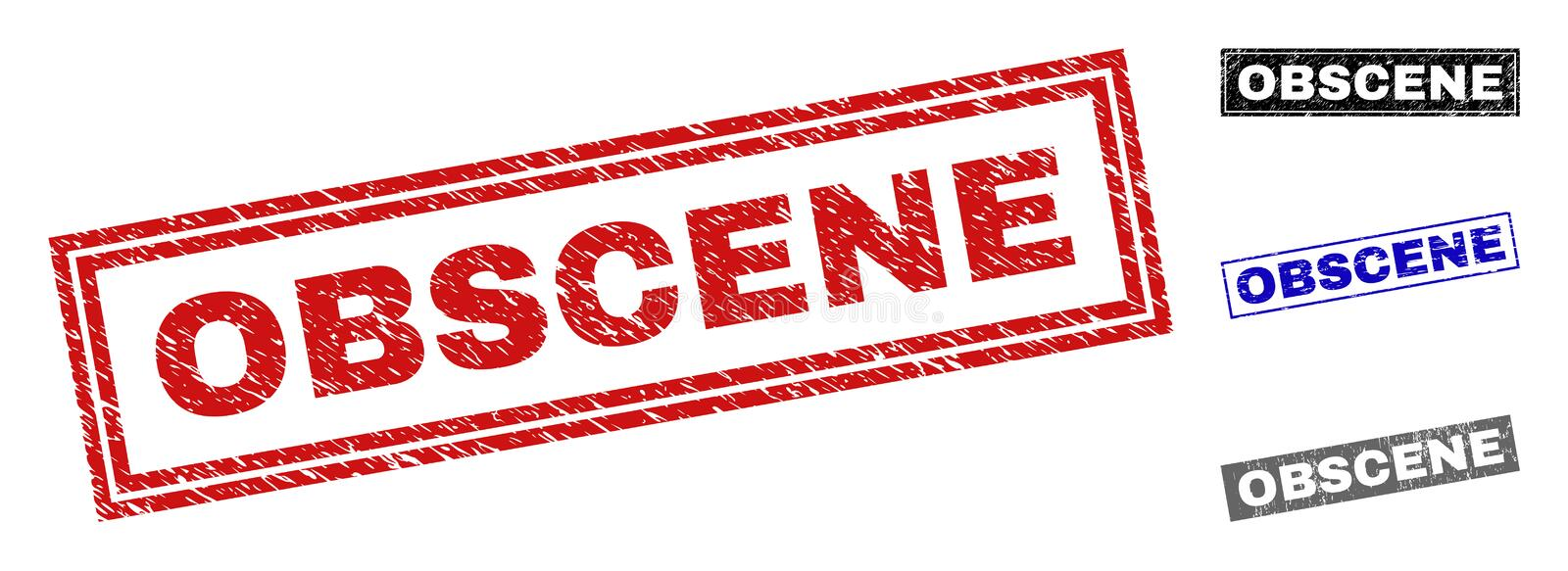 Grunge OBSCENE Scratched Rectangle Watermarks. Grunge OBSCENE rectangle stamp seals isolated on a white background. Rectangular seals with distress texture in stock illustration
